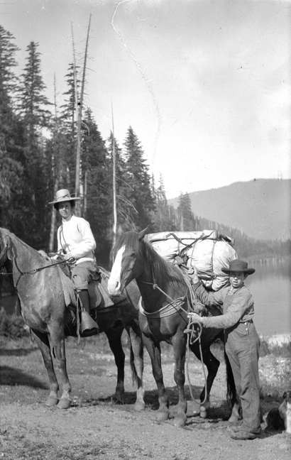 Sue C. Boynton on pack trip ~ approx. 1908