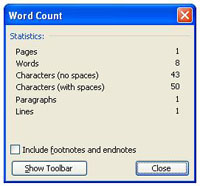 word count window in MS Word
