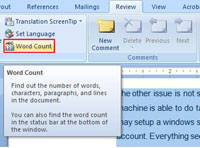 Review tab in MS Word 2007