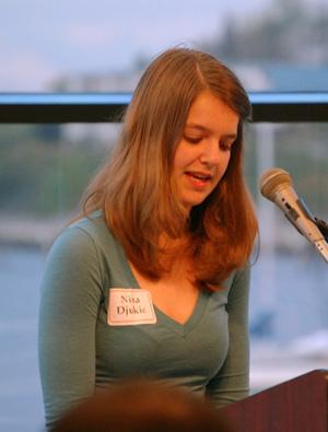 Nina Djukic reading her Walk Award poem, Sinking