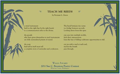 Norman L. Green - teach me reeds - 2011 Walk Award