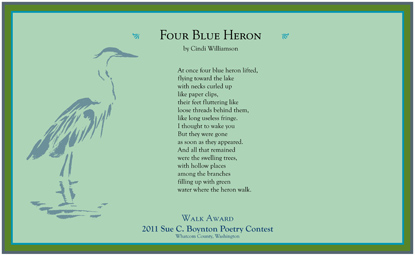 Cindi Williamson - Four Blue Heron - 2011 Walk Award