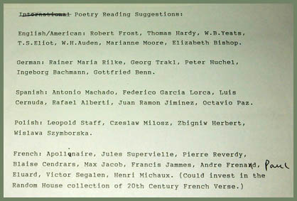 Brodsky Poetry List