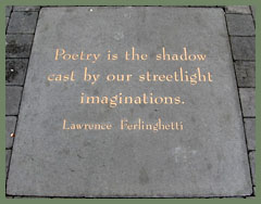 Lawrence Ferlinghetti plaque in Jack Kerouac Alley