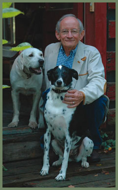 Ted Kooser with dogs