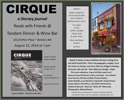 Cirque Journal reading in Bothell, WA