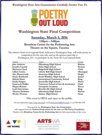 Poetry Out Loud 2016 WA finals