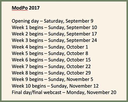 ModPo 2017 schedule