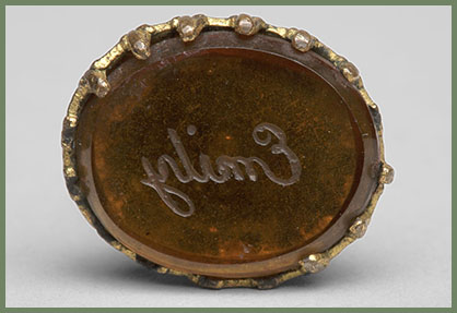 Swinging seal engraved Emily, Gold and citrine; English or American, ca. 1850. Houghton Library, Harvard University.