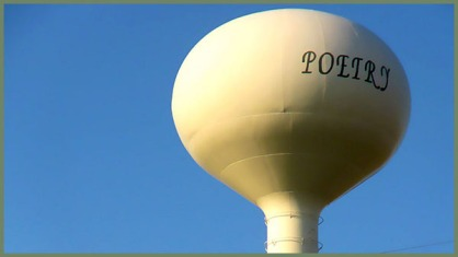 water tower with the word POETRY
