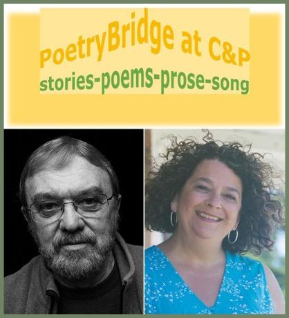 PoetryBridge text logo on gold with photos of Luther Allen and Tamara Kaye Sellman