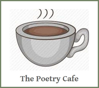illustration of a cup of coffee above the words The Poetry Cafe